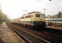 Northbound train for Koln sweeps through Remagen in 1997 behind a Class 110. All services were loco-hauled at that time - not a multiple unit to be seen. <br><br>[Colin Miller&nbsp;//1997]