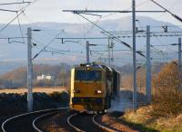 MPV DR98955, with water jets firing, returns east from Cardross on 22 November 2011. <br><br>[John McIntyre&nbsp;22/11/2011]