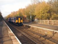 Northern Rail 150203 heads south through Kearsley on 14 November with the 12.23 Preston to Hazel Grove service. <br><br>[David Pesterfield&nbsp;14/11/2011]