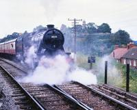 LMS 8233 (BR 48773) departing from Bridgnorth on the Severn Valley Railway in August 1979.<br><br>[Peter Todd&nbsp;19/08/1979]