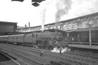 The Summer Saturday 9.13am Dundee - Blackpool North stands at Carlisle on 5 August 1967. Kingmoor Black 5 no 44802 has just taken charge of the train and is preparing to continue the journey south.  <br><br>[K A Gray&nbsp;05/08/1967]