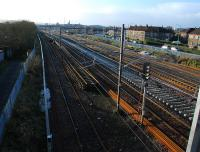 The last of the Gallowhill Sidings remains in the foreground with the lines between Wallneuk Junction and Arkleston Junction being remodelled to the right. The view looks west.<br><br>[Ewan Crawford&nbsp;27/11/2011]