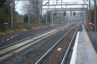 View west from Hillington East. The platforms of Hillington West can be seen in the distance.<br><br>[Ewan Crawford&nbsp;27/11/2011]