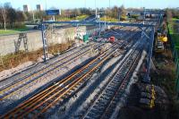 View east at Cardonald Junction showing the cross-over from the centre track to the eastbound track for access to the Deanside Branch.<br><br>[Ewan Crawford&nbsp;27/11/2011]