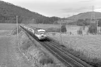 The <I>'STV Puffer Painter Special'</I>, photographed heading south from Aviemore on 28 April 1979. Believed to have been the first visit of an HST to the Highland Main Line.<br><br>[Bill Roberton&nbsp;28/04/1979]