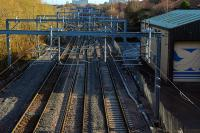 View east at the remodelled Shields West Junction showing the three running lines. [See image 17695] for the line as it was in 2007.<br><br>[Ewan Crawford&nbsp;27/11/2011]