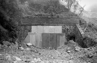 The boarded up north portal of Penmanshiel Tunnel in 1979. [See image 27500]<br><br>[Bill Roberton&nbsp;//1979]