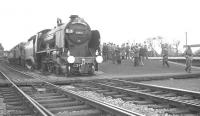The RCTS <i>East Midlander No 5</I> makes a photostop at Church Fenton on 13 May 1962. Locomotives in charge from Nottingham Victoria to Darlington Bank Top, were Schools class 4-4-0 no 30925 <I>Cheltenham</I> paired with Fowler 2P 4-4-0 no 40646.<br><br>[K A Gray&nbsp;/05/1962]