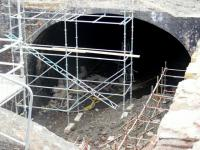 Clearance works continuing at London Road tunnel in April 2011. Behind the scaffolding around the eastern portal lie the remnants of beer casks and gas bottles... quite a concoction.  <br><br>[Colin Harkins&nbsp;18/04/2011]