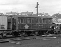 After a hard day's work, what better than a spell of sleeping and messing - although not necessarily in that order. Seen in a corner of the shed yard at Aberdeen Ferryhill in 1967 is this venerable six-wheeled 'Sleeping & Messing Van' [BR Engineer's Dept Aberdeen District DE 320564]. <br><br>[Frank Spaven Collection (Courtesy David Spaven)&nbsp;//1967]