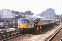 Immaculate Bulleid <I>Merchant Navy</I> Pacific no 35028 <I>'Clan Line'</I> receives some electro-diesel manoeuvering assistance with a special in the sidings at Andover in 1991.<br><br>[Ian Dinmore&nbsp;//1991]
