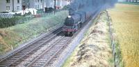 July 25 1959 was probably not a good day to hang out washing in the gardens of Broombank Terrace on Edinburgh's west side. B1 4-6-0 no 61349 hurtles north belching smoke and ash on its way from Saughton Junction to the Forth Bridge with a Fife-bound train.  <br><br>[A Snapper (Courtesy Bruce McCartney)&nbsp;25/07/1959]