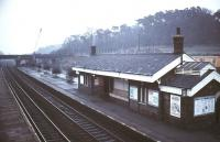 The station at Sandy, Bedfordshire, on the ECML, photographed in 1977.<br><br>[Ian Dinmore&nbsp;//1977]
