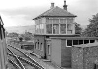 Passing Monktonhall Junction signalbox on a North Berwick-bound dmu in 1974. The branch to Smeaton can just be seen diverging to the right beyond the bridge.<br><br>[Bill Roberton&nbsp;//1974]