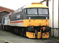 Preserved class 47 no 47643 stands at the head of a diesel lineup at SRPS Boness in January 2005.<br><br>[John Furnevel&nbsp;24/01/2005]
