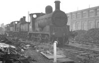 Ex-L&Y 0-6-0 no 52139 stands in line for the cutter's torch in the sidings alongside Horwich Works in September 1960.<br><br>[K A Gray&nbsp;25/09/1960]