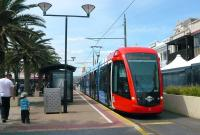 A tram stands at Glenelg terminus on the Adelaide Metro on 30 September 2010. This is an ex-Madrid vehicle.<br><br>[Colin Miller&nbsp;30/09/2010]