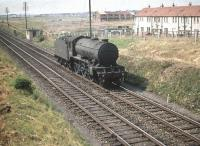 Gresley K3 2-6-0 no 61927 running south light engine past Broomhall towards Saughton Junction on 25 July 1959.<br><br>[A Snapper (Courtesy Bruce McCartney)&nbsp;25/07/1959]