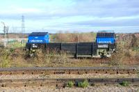 New style container traffic for the tip - seen at Didcot on 15 December 2011.<br><br>[Peter Todd 15/12/2011]