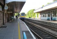 Looking north along platform 1 at Abergavenny on 8 September 2007 as an Arriva Trains Wales service arrives at the station.<br><br>[John McIntyre&nbsp;08/09/2007]