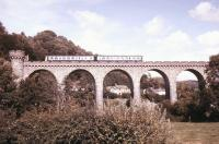 A DMU crossing Knucklas Viaduct, Powys, on the Central Wales line in September 1987.<br><br>[Ian Dinmore&nbsp;/09/1987]