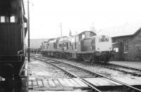 Standing in the shed yard at Motherwell MPD in March 1971 are Clayton 8546 and EE Type 3 D6859.<br><br>[John Furnevel&nbsp;10/03/1971]