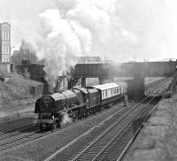 On its first outing since restoration to mainline running condition, No. 46229 <I>Duchess of Hamilton</I> swings right at Wortley Junction, Leeds and heads for Harrogate on the 'Limited Edition' special.<br><br>[Bill Jamieson&nbsp;10/05/1980]