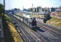 St Margarets J37 0-6-0 no 64539 takes coal empties south past Craigentinny signal box in the summer of 1959.<br><br>[A Snapper (Courtesy Bruce McCartney)&nbsp;/08/1959]