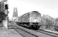 47768 eases off the Forth Bridge and with a southbound passenger train, seen from Dalmeny station in August 1995.<br><br>[Bill Roberton&nbsp;/08/1995]