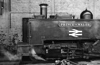 Front end close-up of Vale of Rheidol No 9 <i>'Prince of Wales'</i> inside Aberystwyth Shed at Easter 1975.<br><br>[Bill Jamieson&nbsp;28/03/1975]