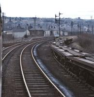 A diverted Glasgow Queen Street (Low Level) to Edinburgh Waverley train approaches Bathgate Upper station on Sunday 7th March 1971. The most likely train is the 16.30 departure from Glasgow (which would seem to be borne out by the rather dark original slides).<br><br>[Bill Jamieson&nbsp;07/03/1971]