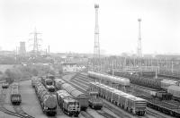 View south over a busy looking Mossend Yard on 29 October 1991. <br><br>[Bill Roberton&nbsp;29/10/1991]
