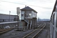 Passing Bathgate Central Box on 7 March 1971 with the disused engine shed visible over to the left. [See image 36936]<br><br>[Bill Jamieson&nbsp;07/03/1971]