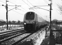 A northbound Voyager heading to Scotland passes through the Brock area between Preston and Lancaster on 10 January 2010 in seasonal conditions.<br><br>[John McIntyre&nbsp;10/01/2010]