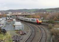 Seen from the modern day bridge over the Llandudno branch a 10-car Voyager approaches the station at Llandudno Junction on a Holyhead to Euston Service. 221111 was leading 221110 on this occasion.  <br><br>[Mark Bartlett&nbsp;29/11/2011]