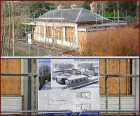 Close up of the ongoing work on the former station building at Pitfodels on 27 December 2011 [see image 36969]. Below is the <I>'architects impression'</I> of the finished project looking over what is now the Deeside Way.<br><br>[Brian Taylor&nbsp;27/12/2011]
