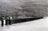 A westbound dmu crossing Barmouth Viaduct in 1981.<br><br>[Colin Miller&nbsp;//1981]