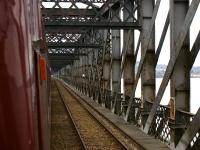 Travelling north across the Tay Bridge inside the High Girders (version 2) on 15 April 2011. [See image 4541]<br><br>[John McIntyre&nbsp;15/04/2011]