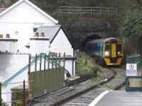 158820 leaves the east side of Aberdovey No 4 tunnel as it approaches Penhelig on 6 December with a Pwllheli - Machynlleth service. <br><br>[David Pesterfield&nbsp;06/12/2011]