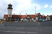 A view across the parking area for the car ferry at Wemyss Bay railway Station on 29 May 2011.<br><br>[John McIntyre&nbsp;29/05/2011]