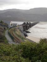 Looking south across Barmouth Bridge from the A496 road on the southern outskirts of Barmouth in December 2011. <br><br>[David Pesterfield&nbsp;07/12/2011]