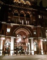 The main entrance to the refurbished St Pancras hotel, looking suitably grand on the evening of 11th December 2011.<br><br>[Ken Strachan&nbsp;11/12/2011]