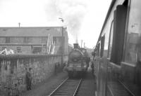 Caley 0-6-0 no 57581 in the process of running round the SLPF <i>'Covenanter'</i> railtour at Ayr goods on 20 October 1962 prior to returning north to St Enoch via Greenock Princes Pier.<br><br>[R Sillitto/A Renfrew Collection (Courtesy Bruce McCartney)&nbsp;20/10/1962]