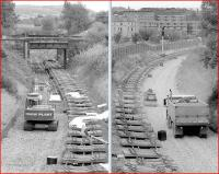 Looking south (left image) and north from the bridge carrying Slateford Road over the 'Sub' in September 1995. The line was being relaid during an enforced and lengthy closure following a fire at Haymarket East Relay Room.  The route south runs below the bridge carrying the Haymarket East Junction - Slateford Junction line [see image 22455] with the Pentland Hills forming the backdrop. The view north shows the route curving to the right past the site of Gorgie East station towards Gorgie Junction.<br><br>[Bill Roberton&nbsp;/09/1995]