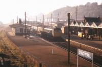 A train for the far north rolls into Dingwall station on a bright but hazy November morning in 1970 behind a pair of Inverness-based  Type 2 locomotives. Note the trolley load of milk churns standing on the platform.<br><br>[Colin Miller&nbsp;//1970]
