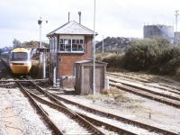 An HST bound for Newquay photographed at Goonbarrow Junction signal box in October 1992. In the background are the works and exchange sidings of the Rocks china clay complex.<br><br>[Ian Dinmore&nbsp;/10/1992]