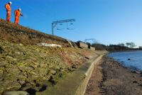 As a result of damage caused by severe gales during the first days of January 2012 trains were disrupted between Dalreoch and Helensburgh. This is the storm damaged embankment at Ardoch looking east on 5 January.<br><br>[Ewan Crawford&nbsp;05/01/2012]