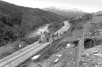 Busy scene south of Dalnaspidal in April 1978 with the down main line reinstated.<br><br>[Bill Roberton&nbsp;/04/1978]