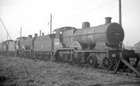 Out of use locomotives stored in the sidings alongside Ardrossan shed in November 1962 included (front to rear) 40668, 40625 and 42191. [See image 36626].<br><br>[R Sillitto/A Renfrew Collection (Courtesy Bruce McCartney)&nbsp;/11/1962]
