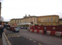 Bath Spa station on New Year's Day 2012 - an intriguing mixture of Mendip stone, red steel and plastic!<br><br>[Ken Strachan&nbsp;01/01/2012]
